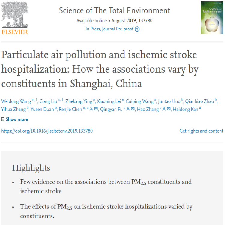 PM 2.5 and Ischemic Stroke Hospitalization (2019)